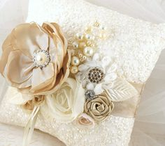 Ring Bearer Pillow Bridal Pillow in Ivory and ♥ by SolBijou on Etsy, $105.00