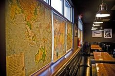 pull down map blinds, hmm Pull Down Map, The Atlas, School Days, Living Area, Blinds, Maps, Clever, House Ideas, Design Ideas