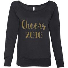 Cheers 2016 New Years Sweatshirt Happy New Year 2016 Off the Shoulder... ($30) ❤ liked on Polyvore featuring tops, hoodies, sweatshirts, black, women's clothing, off shoulder tops, color block sweatshirt, sweat shirts, marble top and sweatshirt hoodies
