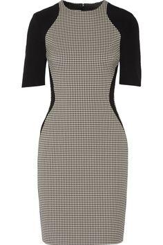 STELLA MCCARTNEY Crepe-Trimmed Cotton-Blend Houndstooth Dress. #stellamccartney #cloth #dress