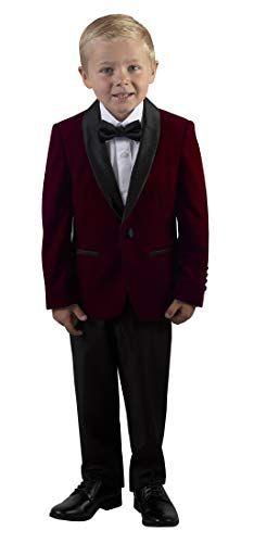 Kids Two Button Notch Tuxedo with Burgundy Suspender Bow Tie Set