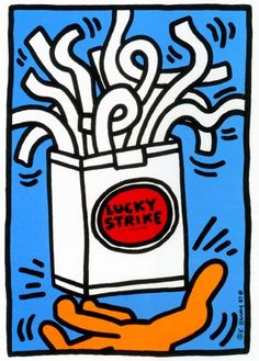 Lucky Strike Keith Haring Date: 1987 Style: Pop Art Genre: advertisement Norman Rockwell, Keith Haring Art, Pop Art Artists, Andy Warhol, Graffiti Art, American Artists, Wood Print, Fine Art Paper, Cool Art