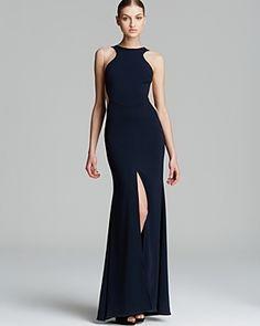Nicole Bakti Gown - High Neck Illusion Side Front Slit on shopstyle.co.uk