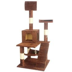 Cat Tree Tower Condo Kitten Indoor Hammock Bed Perch Modern Sturdy Scratcher Scratching Post Furniture Play Pet Home House, 55' Height, Brown * To view further for this item, visit the image link. (This is an affiliate link and I receive a commission for the sales) #CatLovers