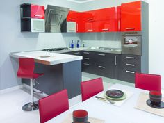 "Kitchen ""Quick"" by Arkom Cuine. Black and red furnitures."