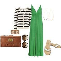 Green Maxi Dress And Striped Cardi
