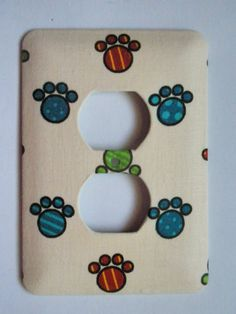 Doggie paw prints decorative outlet cover by clairemdesigns