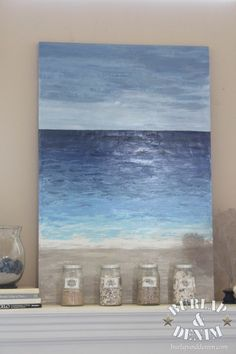 Tutorial for making Beach inspired art for cheap! Tutorial to make beach inspired art cheap! Art Diy, Diy Wall Art, Abstract Ocean Painting, Ocean Paintings, Art Paintings, Art Plage, Ocean Art, Beach Art, Ocean Beach