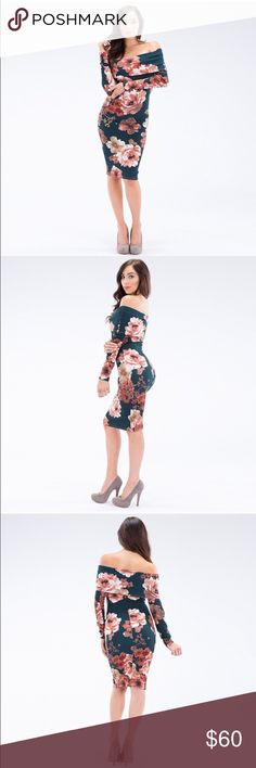 COMING SOON! Floral Off-Shoulder Dress Gorgeous, off the shoulder form-fitting dress. Beautiful Floral design. Perfect for the holidays! 2 Small - 2 Medium - 2 Large. 95% Polyester, 5% Spandex.  Made in the USA 🇺🇸💕 Coming soon! Comment below if you want to be notified when it's in stock 😊 auditions Dresses Long Sleeve