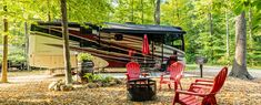 Rv Camping, Campsite, Best Rv Parks, Cement Patio, Rv Sites, Fish Ponds, Shade Trees, Outdoor Furniture Sets, Outdoor Decor