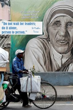 """""""Do not wait for leaders; do it alone, person to person."""" """"If you can't feed a hundred peoplethem just feed one."""" Catholic Prayers, Catholic Saints, Repent And Believe, Luke 9, Human Kindness, Pope John, Jesus On The Cross, Mother Teresa, The Kingdom Of God"""