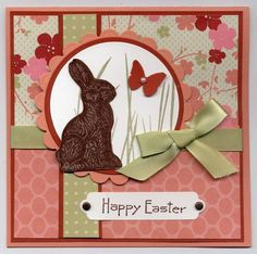 "Happy Easter ""Chocolate"" Bunny Card...by lvogt-Cards and Paper Crafts at Splitcoaststampers. Could switch bunny for cross."