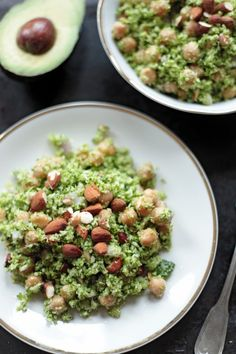 8. Raw Broccoli Salad With Chickpeas and Almonds #greatist https://greatist.com/eat/broccoli-rice-recipes