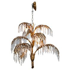 Pair golden palm tree lamps by hans kgl tree lamp floor lamp and mary ann cox mendi cox tieman brass palm leaf with crystals chandelier france 1940s french aloadofball Images