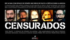 """Censored"""" journalists from """"Este Tempo"""": António Granado, Gonçalo Cadilhe, Raquel Freire, Rita Matos and Pedro Rosa Mendes. Poster by Art.21º shared on Facebook together with the transcription of the Portuguese Constitution on Freedom of Information and Expression."""