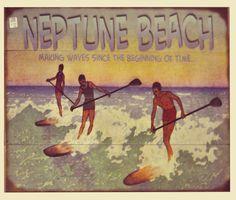 Vintage Beach Signs, Neptune Beach, Making Waves, Movie Posters, Movies, Painting, Films, Film Poster, Painting Art