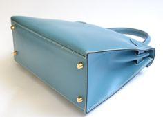 Blue Jean Box sellier Kelly 28cm GoldHW Shoulderbag Handbag #3672