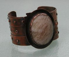 Moonstone and Copper Riveted Cuff Bracelet by SilverSeahorseDesign