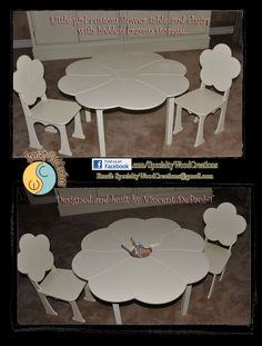 Little girl custom flower table and chairs with hidden crayon storage