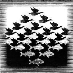 M.C.Escher_ Sky and Water 1938_Matematiksel resim sanatı_Metamorfoz_Doğada değişim...