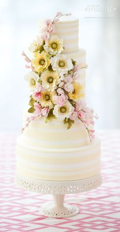 Yellow striped cake with yellow & pink floral accents. Love the cake shapes Elegant Wedding Cakes, Beautiful Wedding Cakes, Gorgeous Cakes, Pretty Cakes, Amazing Cakes, Beautiful Flowers, Cake Wedding, Perfect Wedding, Wedding Gowns