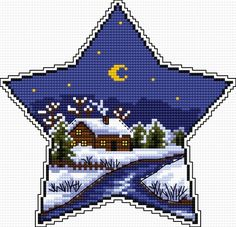Winter star (hanging ornament, winter, snow, moon, Christmas)