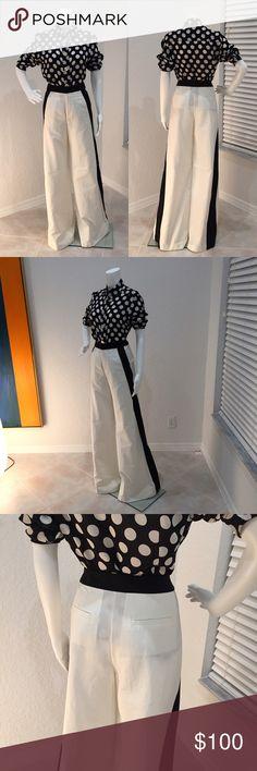 Marissa Webb Wide Leg Trousers Gorgeous Marissa Webb wide leg trousers. Cream with black stripe down the legs and at waist. Flat front pockets. Unlined. 65% cotton 35% silk. 36 inch inseam. Marissa Webb Pants Wide Leg