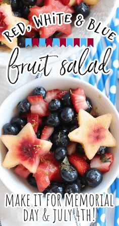 This simple and easy red, white, and blue fruit salad with honey lime dressing is the best recipe for your summer holiday parties and picnics from Memorial Day and July 4th to Labor Day and even Flag Day. The star shaped peaches and watermelons are sure to be showstoppers at every meal! How To Make Salad, Food To Make, Fruit Salad Making, Picnic Side Dishes, Food Network Recipes, Cooking Recipes, Honey Lime Dressing, Blue Fruits, Allergy Free Recipes