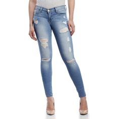 Flying Monkey Distressed Low-Rise Skinny Jeans ($60) ❤ liked on Polyvore featuring jeans, blue, blue ripped jeans, destroyed jeans, low rise skinny jeans, skinny leg jeans and blue jeans