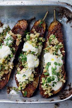 eggplant with bulgar + yogurt -- vegetarian recipe