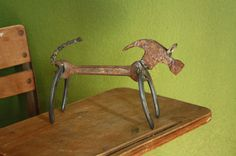 Junk Art Wiener Dog by ReclaimArtDesigns on Etsy, $15.00 (sold)
