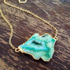 Geode Necklace - Green - Agate - 14K Gold Filled on Etsy, $65.00