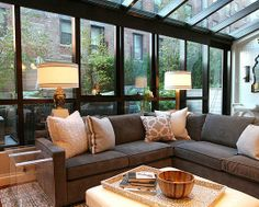 Gray sectional w/ linen pillows=need