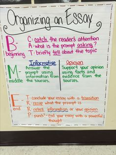 Organizing an essay anchor chart! FSA styled writing for 4th grade.