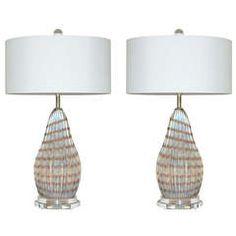 Pair of Vintage Murano Striped Opaline Lamps of Lavender Taupe | From a unique collection of antique and modern table lamps at https://www.1stdibs.com/furniture/lighting/table-lamps/