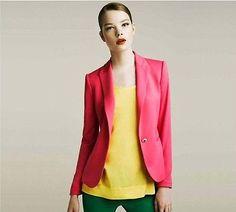 New+Fashion+Womens+Candy+Color+Basic+Slim+Foldable+Suit+Jacket+Blazer+6+Colors