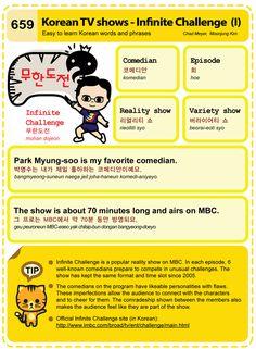 659 Learn Korean Hangul: Korean TV shows - Infinite Challenge I Korean Words Learning, Korean Language Learning, Korean Phrases, Korean Text, Korean Tv Shows, Learn Hangul, Korean Writing, Korean Alphabet, Korean Lessons