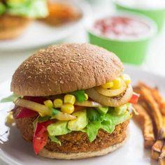 Sweet Potato Veggie Burger Recipe with Avocado, Corn and Peppers {Vegan} via @FoodFaithFit