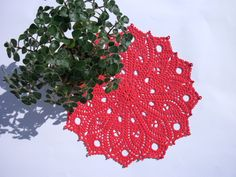Red lace doily 12 inches Round lace doily Crochet table topper Crochet home decor Mothers day gift idea For her Red home decor - pinned by pin4etsy.com