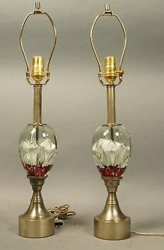 Pair Of Quality LARGE ST. CLAIRE GLASS PAPER WEIGHT Table Lamps MUST C !!!