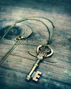 Key and owl necklace
