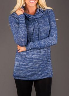 Stylish Cowl Neck Long Sleeve Pocket Design Drawstring Women's Hoodie