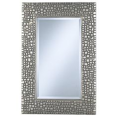 """Contemporary Textured Relief Silver Finish 36"""" High Wall Mirror -... ❤ liked on Polyvore"""