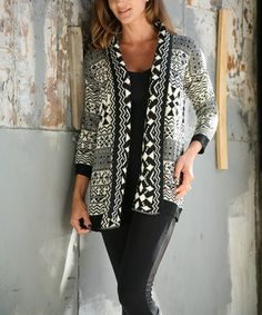 Look at this #zulilyfind! White & Black Tribal Open Cardigan by Ananda's Collection #zulilyfinds