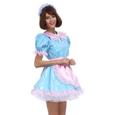 This beautiful sissy maid dress with apron is designed in soft pastel colors. A pleasure to wear, this one of our customer's favorites.Model Number: Component: As pictured: Dress , Headpiece , Apron , Lock French Maid Dress, French Maid Costume, Dress Skirt, Dress Up, Male To Female Transformation, Maid Cosplay, Maid Outfit, Frocks For Girls, Pretty Dresses