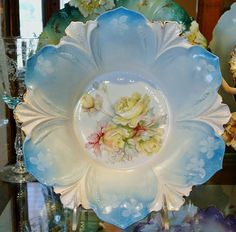 RS+Prussia+Blue+Bowl+with+Big+Yellow+Roses+by+PattysPorcelainEtc,+$199.00