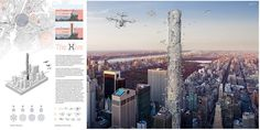 The Hive, designed by Hadeel Ayed Mohammad, Yifeng Zhao, and Chengda Zhu from the United States received the eVolo 2016 SECOND PLACE. The project imagines a vertical control terminal for advanced flying drones that will provide personal and commercial services to residents of New York City.