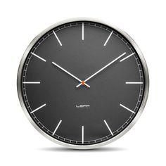 One55 // Stainless Steel // Black Index LEFF Amsterdam Dutch Clock Designs