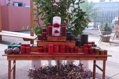 Holiday candle display for sidewalk sale