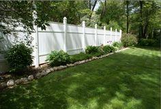 white fence, backyard